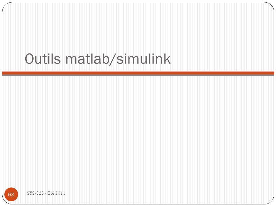 Outils matlab/simulink
