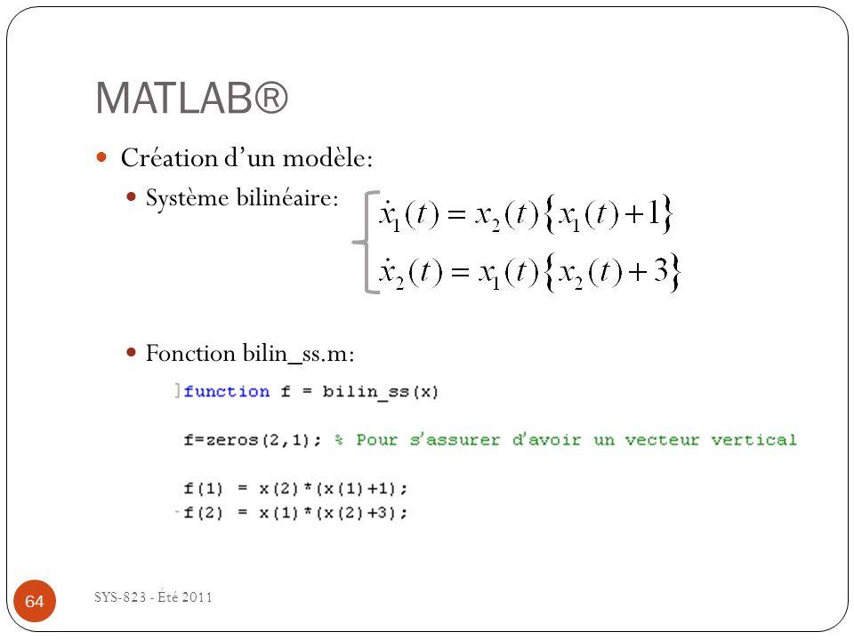 MATLAB® Création d'un modèle: Système bilinéaire: Fonction bilin_ss.m: