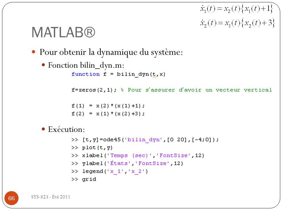 MATLAB® Pour obtenir la dynamique du système: Fonction bilin_dyn.m:
