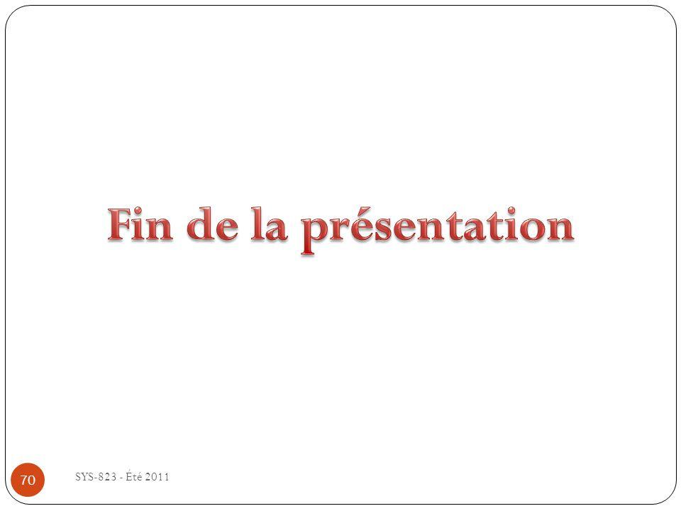 Fin de la présentation SYS-823 - Été 2011