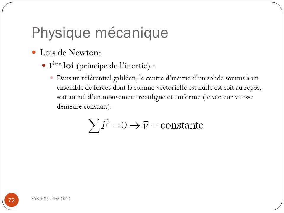 Physique mécanique Lois de Newton: 1ère loi (principe de l'inertie) :