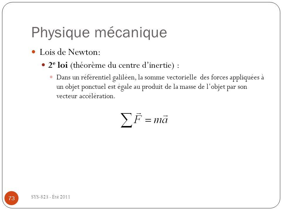 Physique mécanique Lois de Newton: