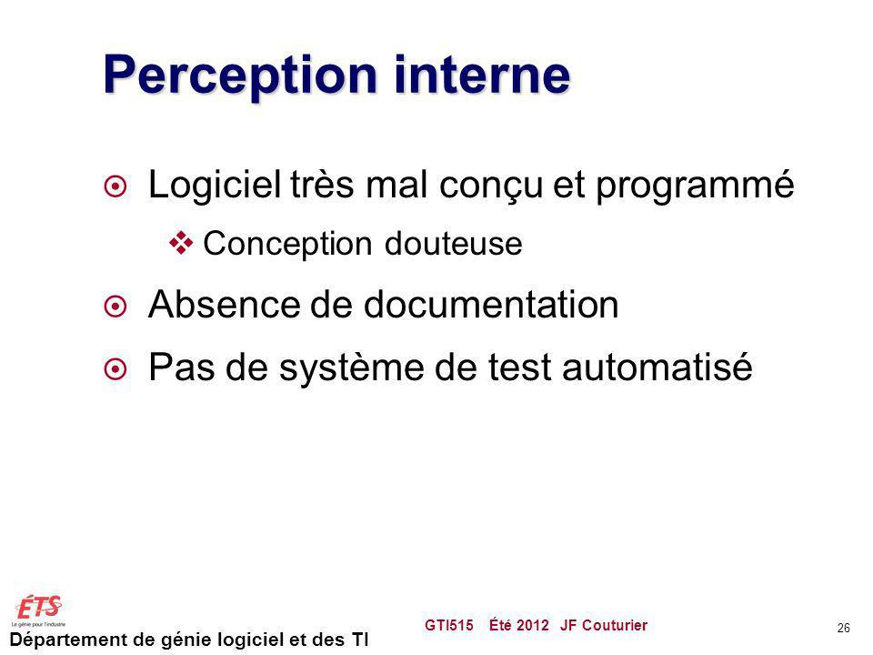 Perception interne Logiciel très mal conçu et programmé