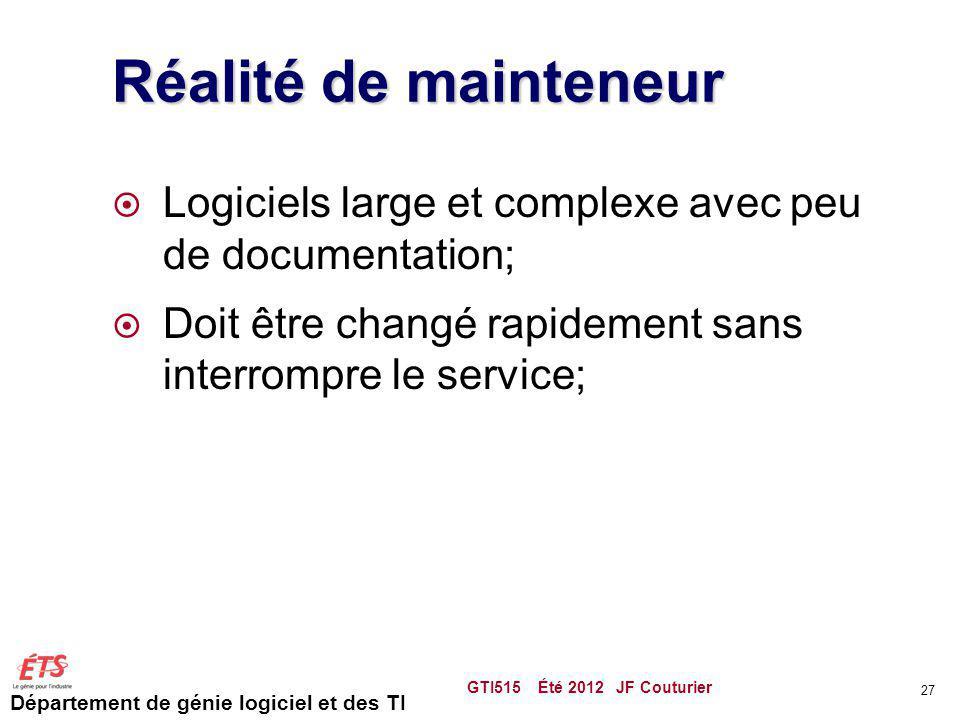 Réalité de mainteneur Logiciels large et complexe avec peu de documentation; Doit être changé rapidement sans interrompre le service;