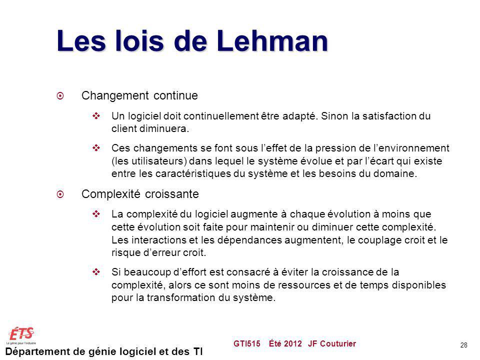 Les lois de Lehman Changement continue Complexité croissante