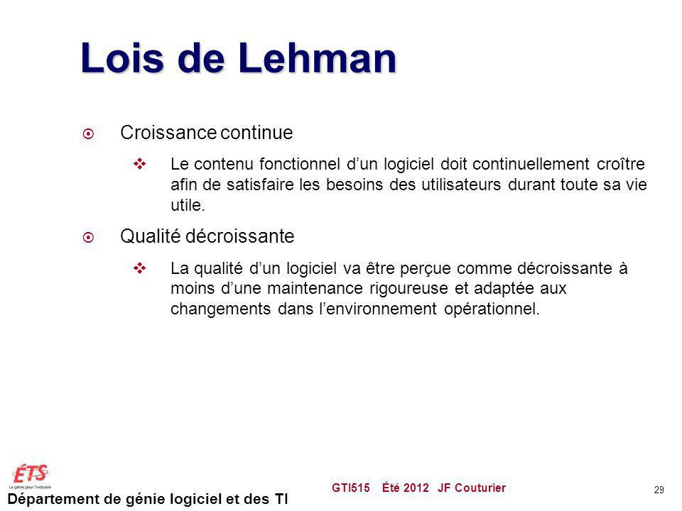 Lois de Lehman Croissance continue Qualité décroissante