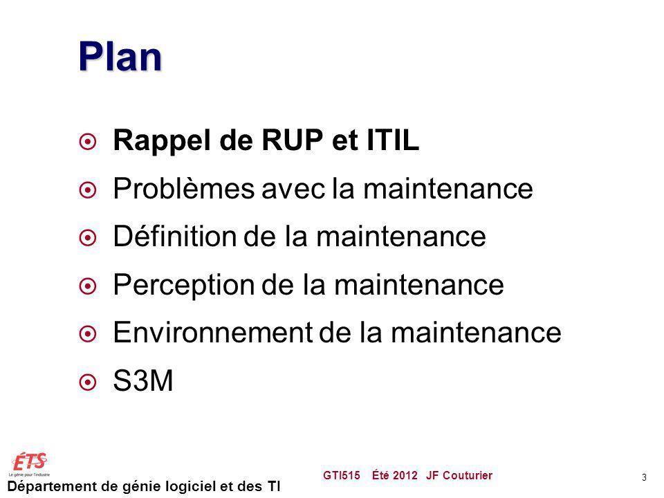 Plan Rappel de RUP et ITIL Problèmes avec la maintenance
