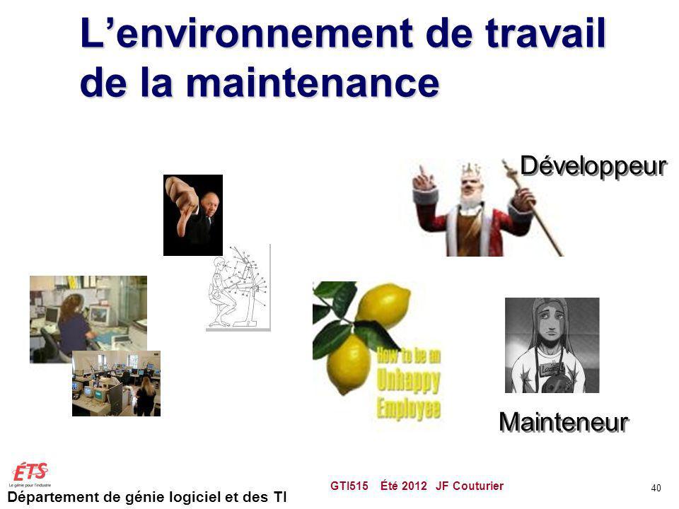 L'environnement de travail de la maintenance