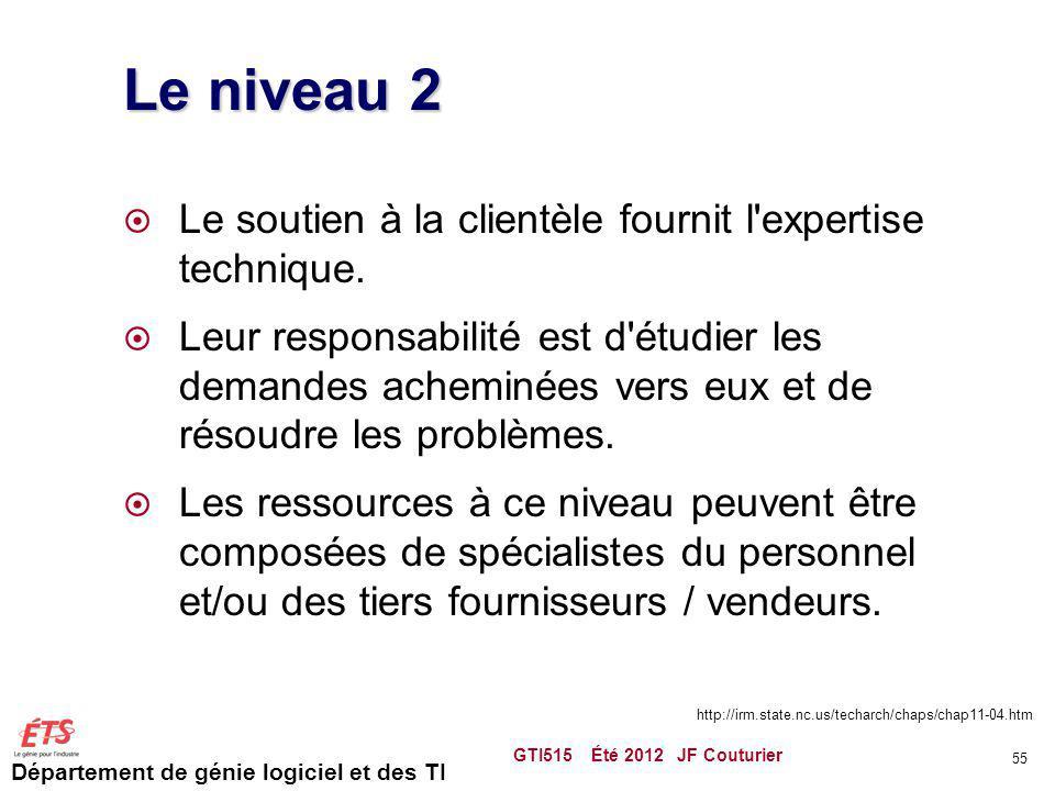 Le niveau 2 Le soutien à la clientèle fournit l expertise technique.