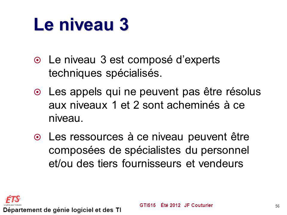 Le niveau 3 Le niveau 3 est composé d'experts techniques spécialisés.