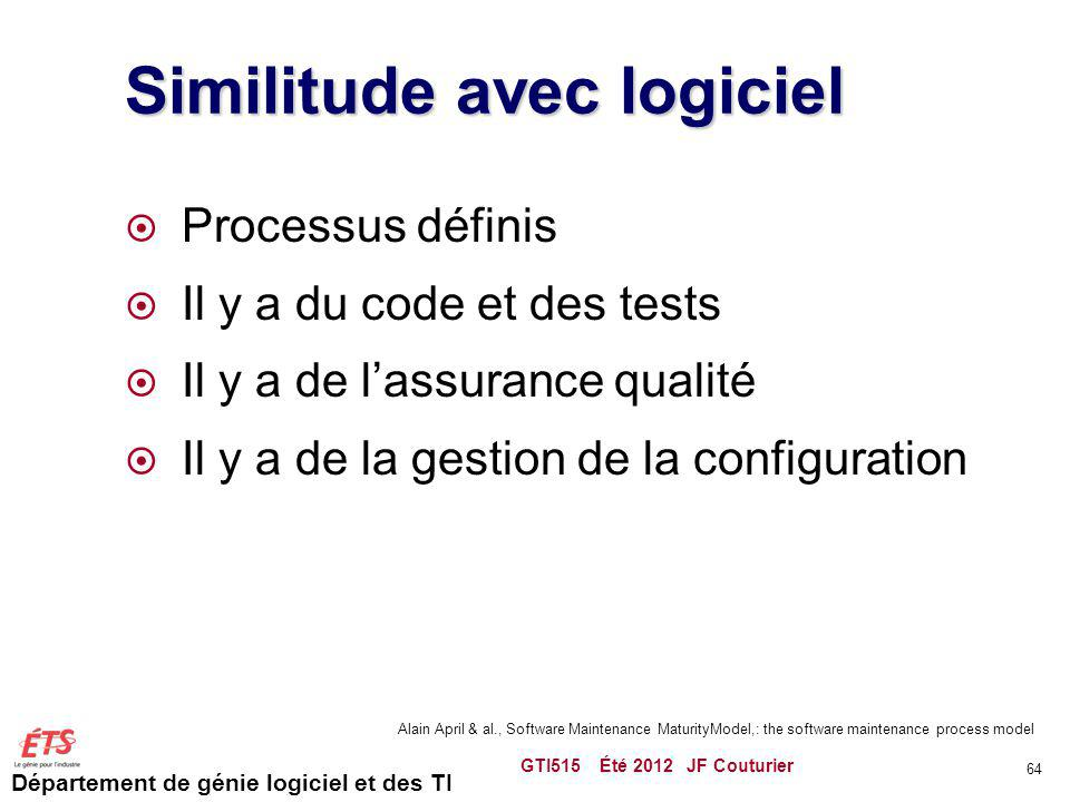 Similitude avec logiciel
