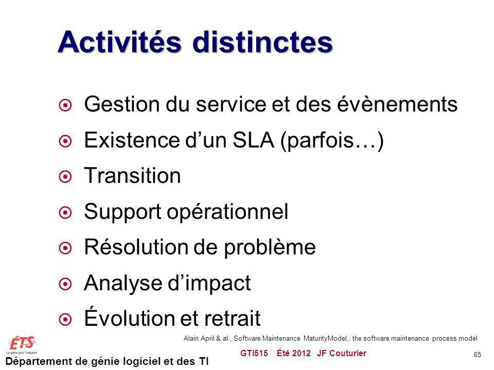 Activités distinctes Gestion du service et des évènements