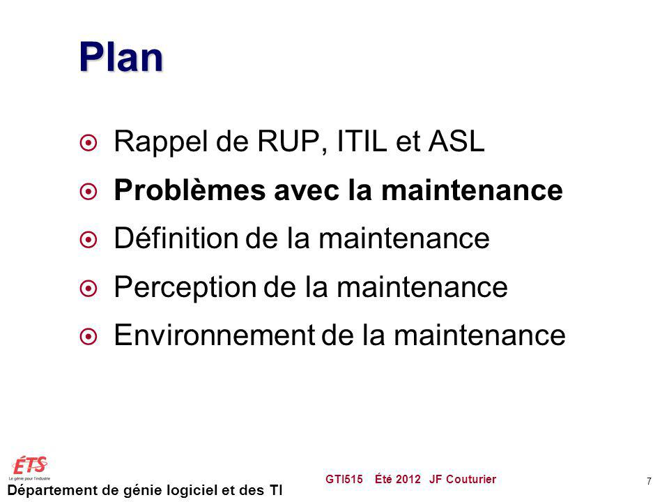 Plan Rappel de RUP, ITIL et ASL Problèmes avec la maintenance