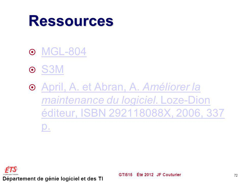 Ressources MGL-804. S3M. April, A. et Abran, A. Améliorer la maintenance du logiciel. Loze-Dion éditeur, ISBN 292118088X, 2006, 337 p.