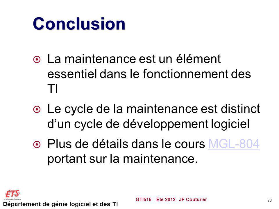 Conclusion La maintenance est un élément essentiel dans le fonctionnement des TI.