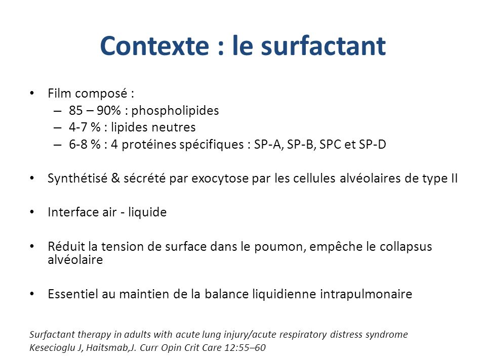Contexte : le surfactant