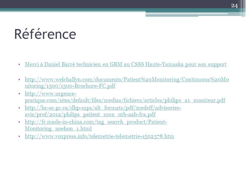 Référence Merci à Daniel Barré technicien en GBM au CSSS Haute-Yamaska pour son support.