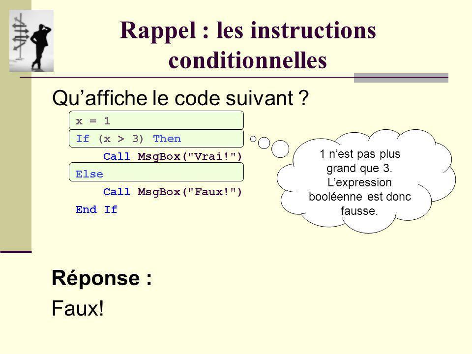 Rappel : les instructions conditionnelles