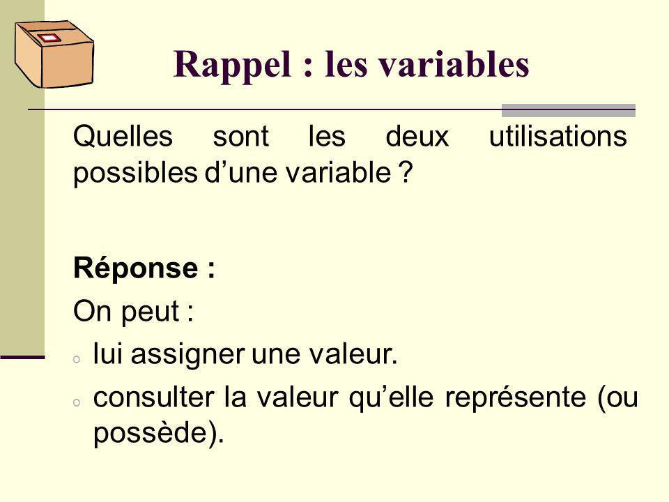 Rappel : les variables Quelles sont les deux utilisations possibles d'une variable Réponse : On peut :
