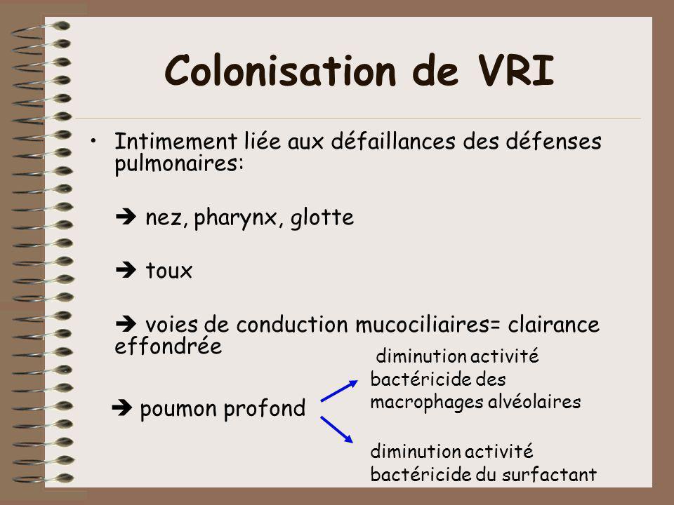 Colonisation de VRI Intimement liée aux défaillances des défenses pulmonaires:  nez, pharynx, glotte.