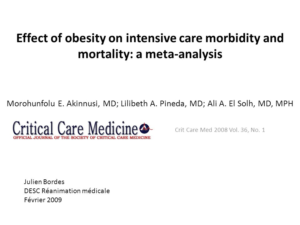 Effect of obesity on intensive care morbidity and mortality: a meta-analysis Morohunfolu E. Akinnusi, MD; Lilibeth A. Pineda, MD; Ali A. El Solh, MD, MPH