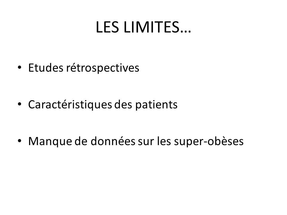 LES LIMITES… Etudes rétrospectives Caractéristiques des patients