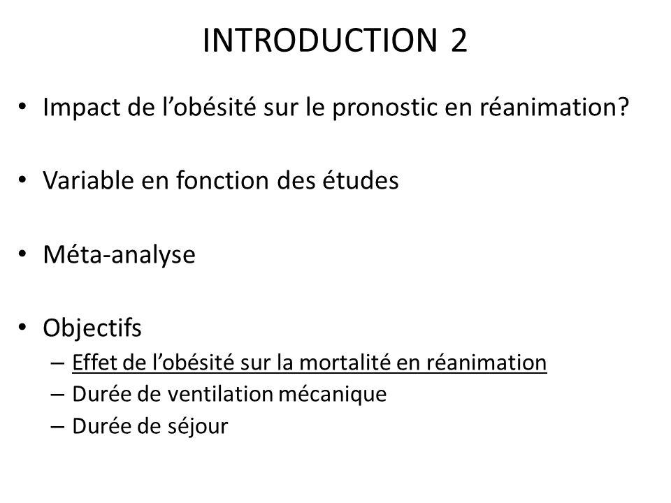 INTRODUCTION 2 Impact de l'obésité sur le pronostic en réanimation