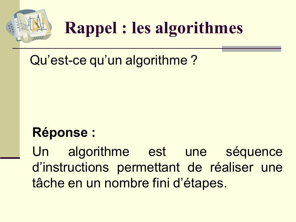 Rappel : les algorithmes