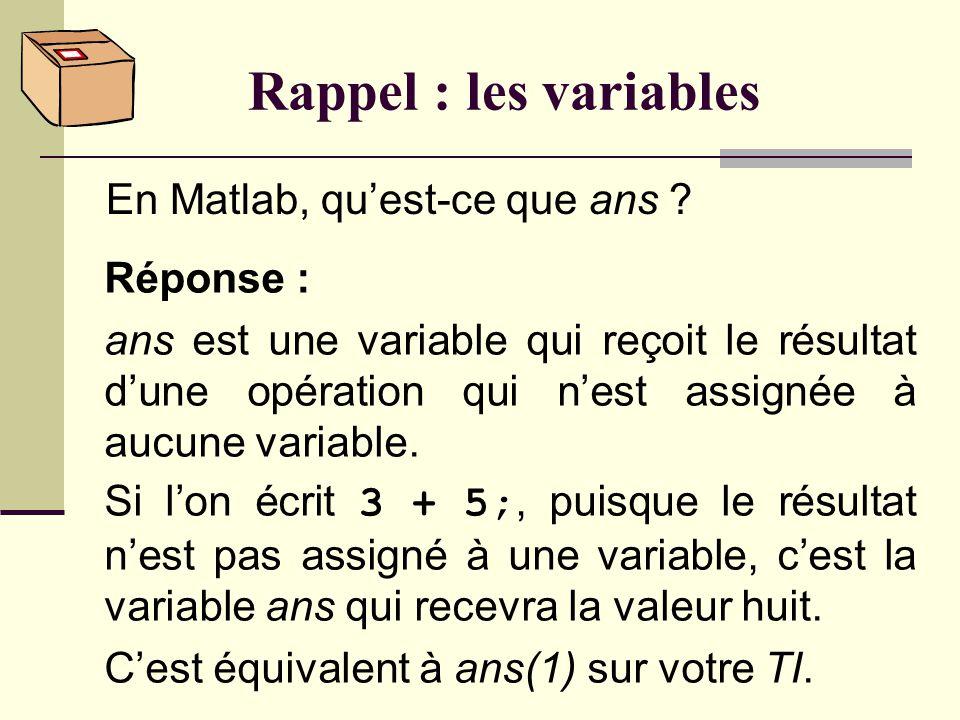 Rappel : les variables En Matlab, qu'est-ce que ans Réponse :
