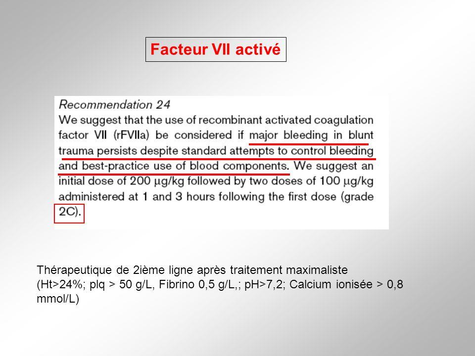 Facteur VII activé Thérapeutique de 2ième ligne après traitement maximaliste.