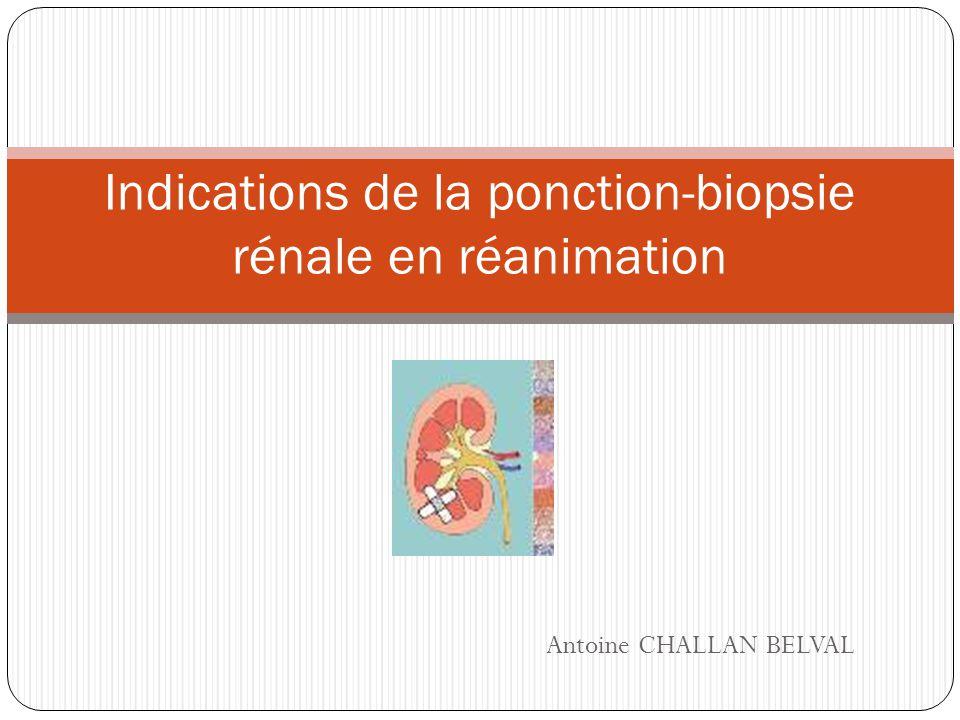 Indications de la ponction-biopsie rénale en réanimation
