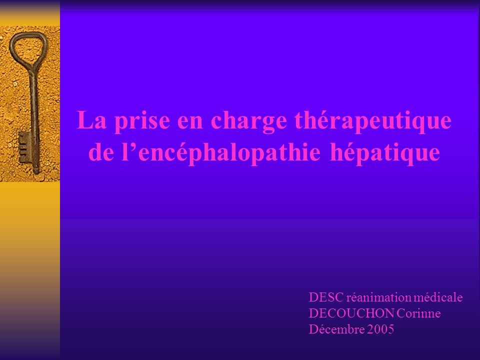 La prise en charge thérapeutique de l'encéphalopathie hépatique