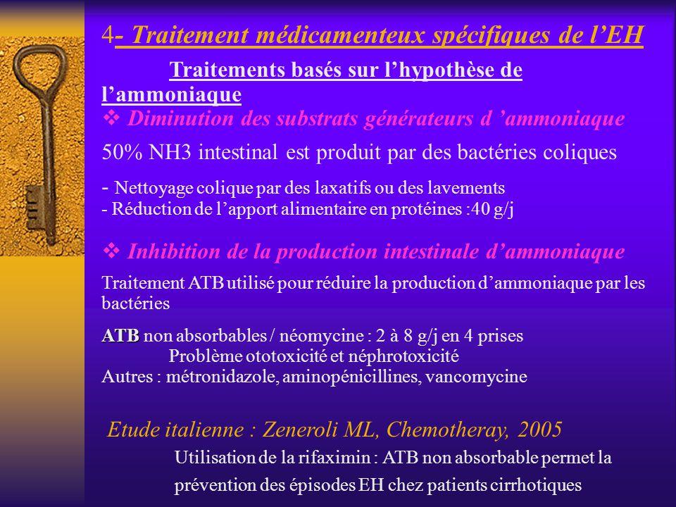 - Traitement médicamenteux spécifiques de l'EH
