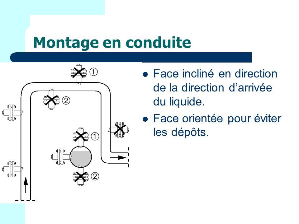 Montage en conduite Face incliné en direction de la direction d'arrivée du liquide.