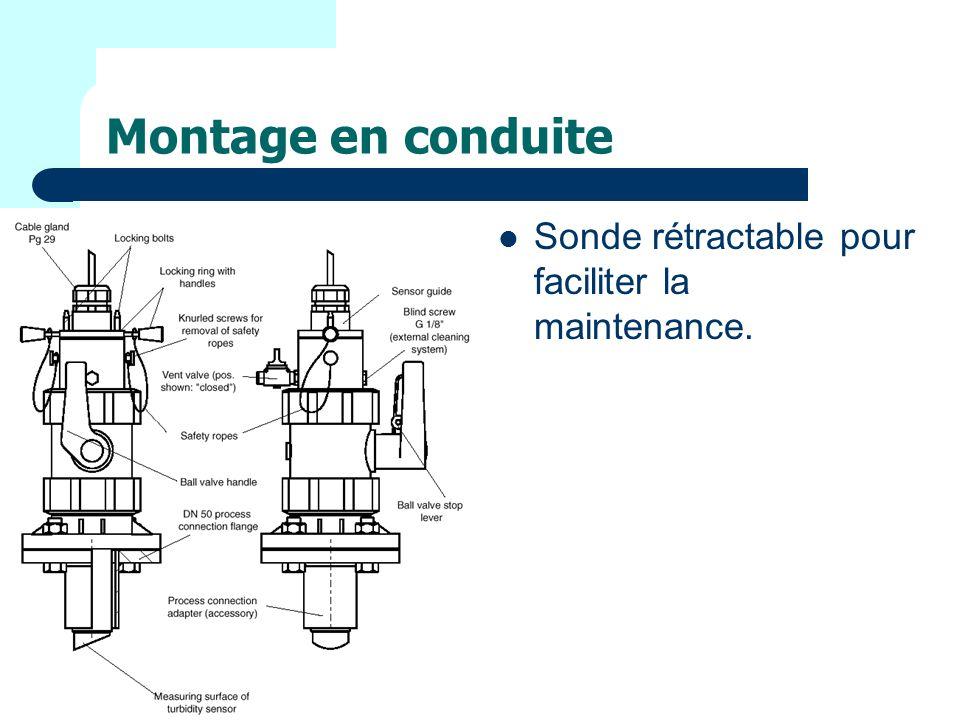 Montage en conduite Sonde rétractable pour faciliter la maintenance.
