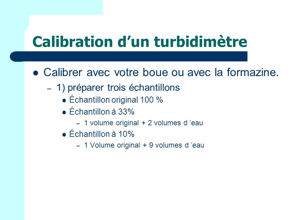 Calibration d'un turbidimètre