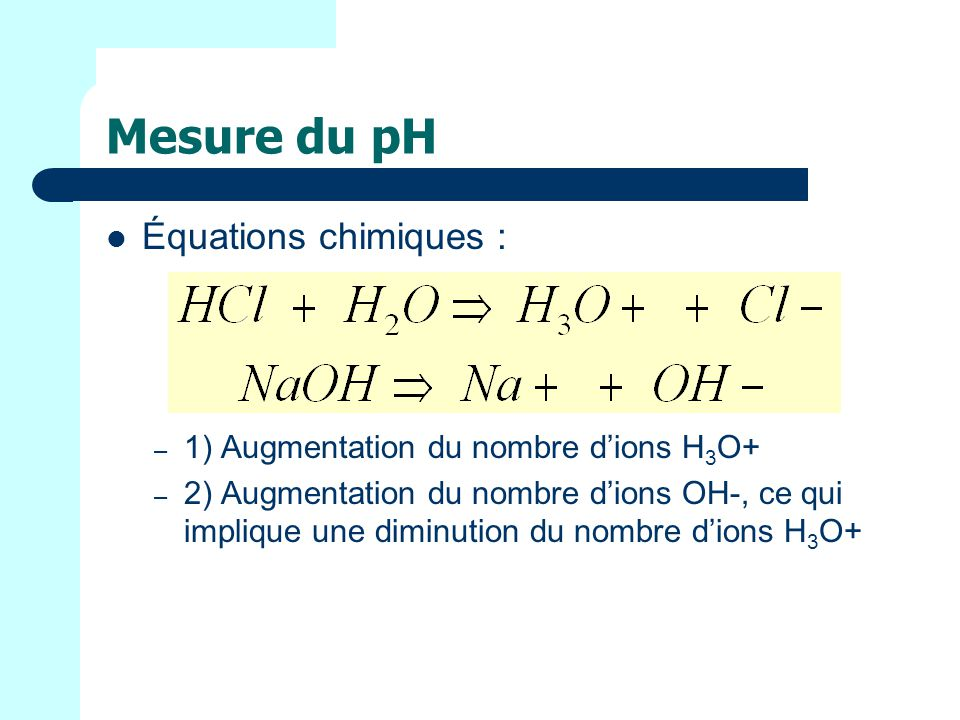 Mesure du pH Équations chimiques :