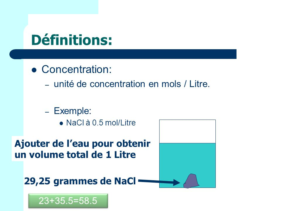 Définitions: Concentration: unité de concentration en mols / Litre.