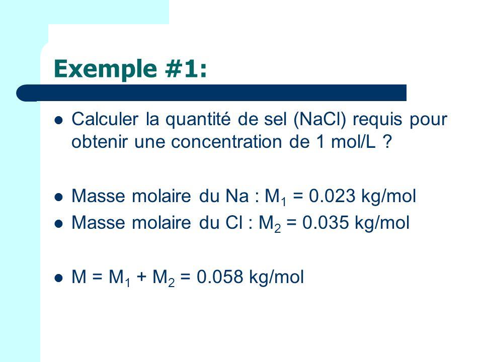 Exemple #1: Calculer la quantité de sel (NaCl) requis pour obtenir une concentration de 1 mol/L Masse molaire du Na : M1 = 0.023 kg/mol.