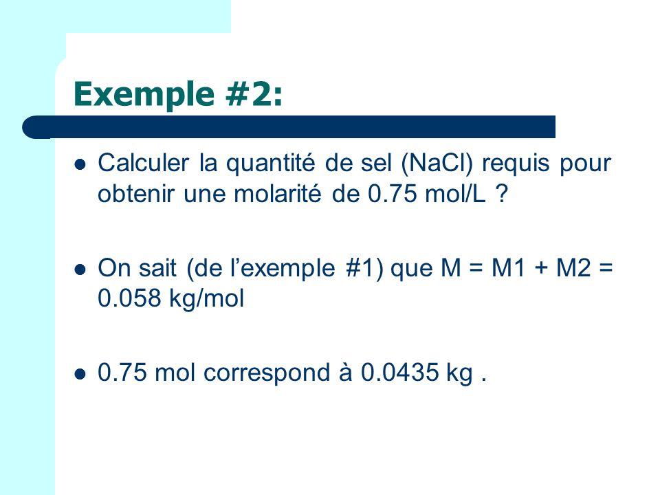 Exemple #2: Calculer la quantité de sel (NaCl) requis pour obtenir une molarité de 0.75 mol/L
