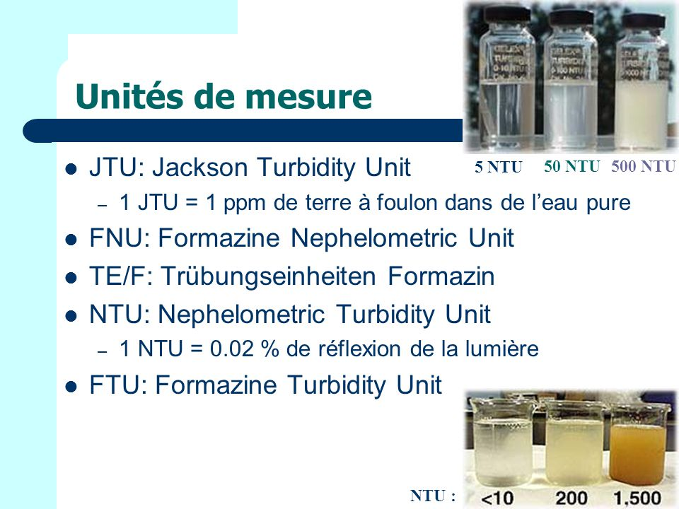 Unités de mesure JTU: Jackson Turbidity Unit