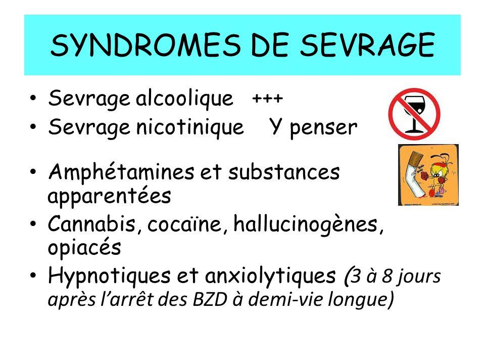 SYNDROMES DE SEVRAGE Sevrage alcoolique +++