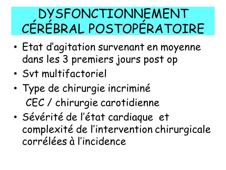 DYSFONCTIONNEMENT CÉRÉBRAL POSTOPÉRATOIRE