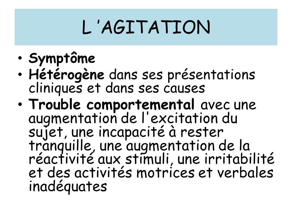 L 'AGITATION Symptôme. Hétérogène dans ses présentations cliniques et dans ses causes.