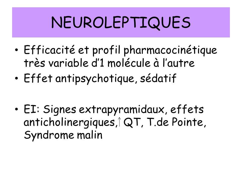 NEUROLEPTIQUES Efficacité et profil pharmacocinétique très variable d'1 molécule à l'autre. Effet antipsychotique, sédatif.