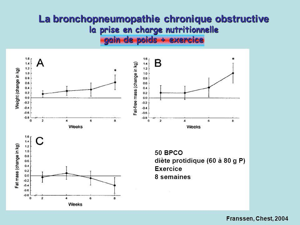 La bronchopneumopathie chronique obstructive la prise en charge nutritionnelle gain de poids + exercice