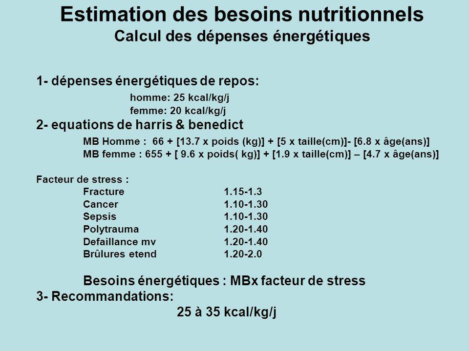 Estimation des besoins nutritionnels Calcul des dépenses énergétiques