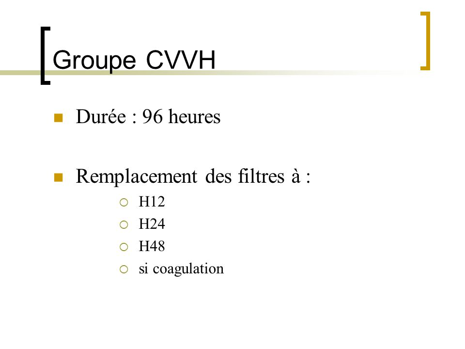 Groupe CVVH Durée : 96 heures Remplacement des filtres à : H12 H24 H48
