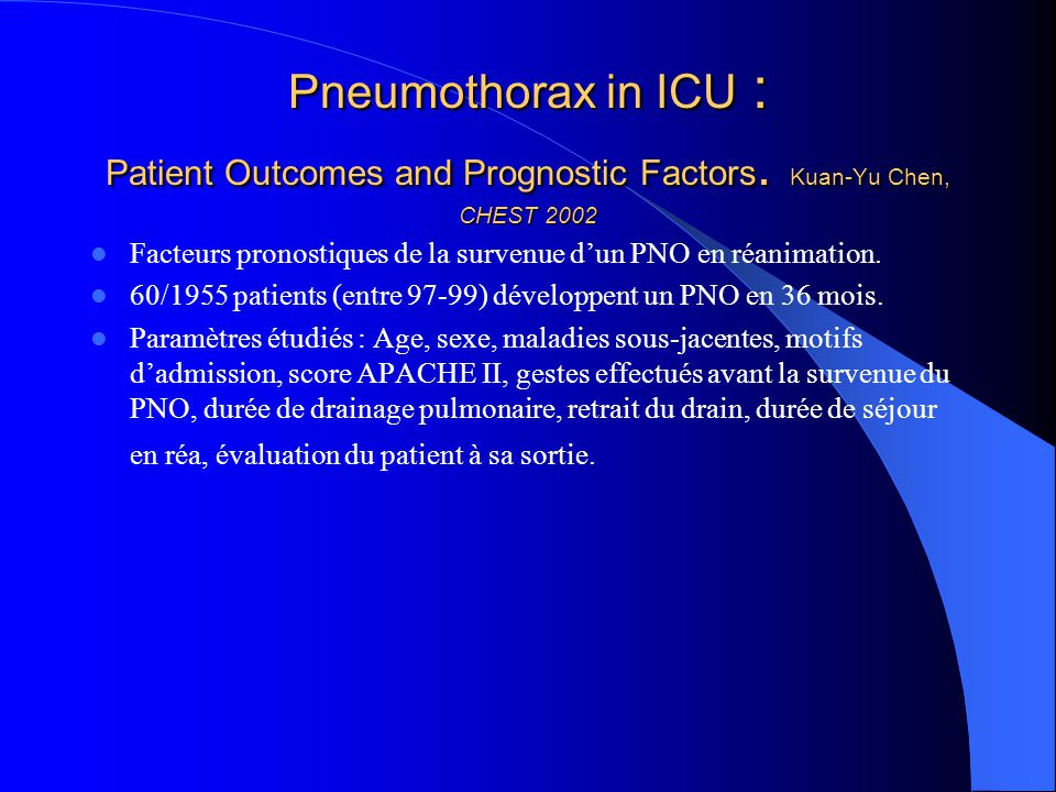 Pneumothorax in ICU : Patient Outcomes and Prognostic Factors