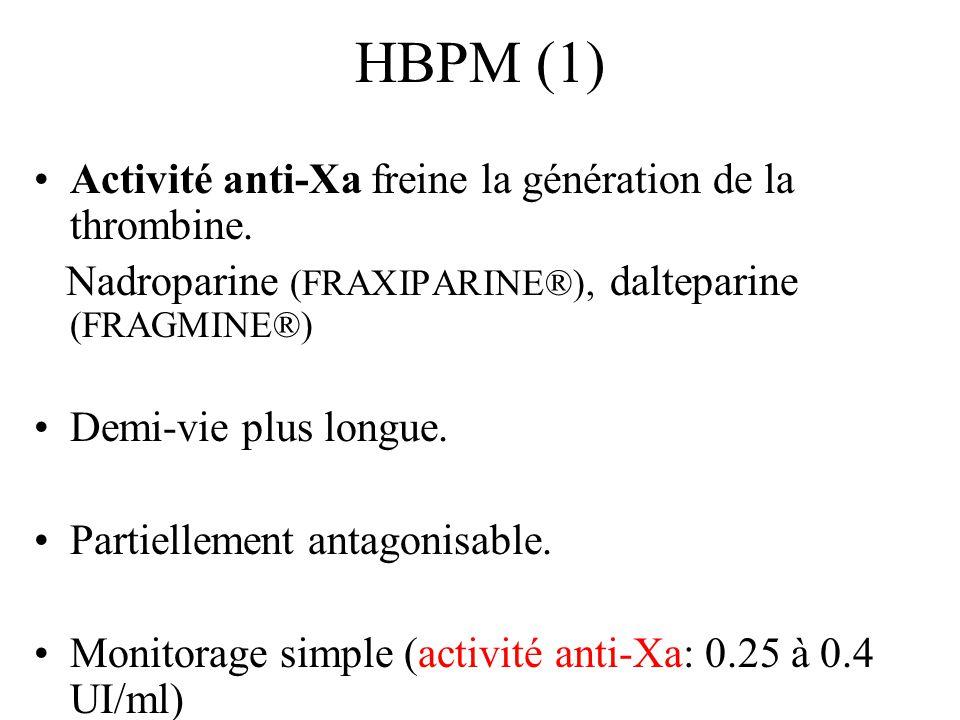 HBPM (1) Activité anti-Xa freine la génération de la thrombine.